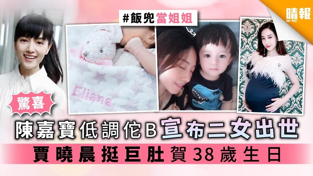 【驚喜】陳嘉寶低調佗B宣布二女出世 賈曉晨挺巨肚賀38歲生日