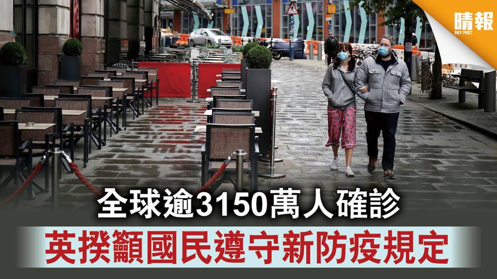 【新冠肺炎】全球逾3150萬人確診 英揆籲國民遵守新防疫規定
