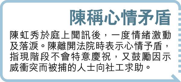 涉8.31港島暴動 社工陳虹秀獲徹控 其餘被告表證成立