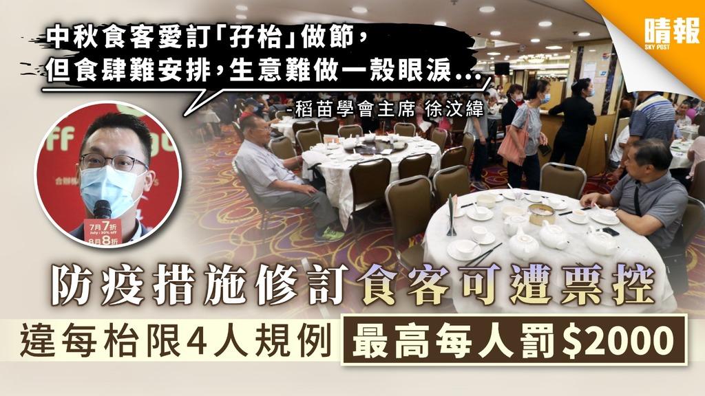 【限聚令.食肆限制】防疫措施修訂食客可遭票控 違每枱限4人規例最高每人罰$2000
