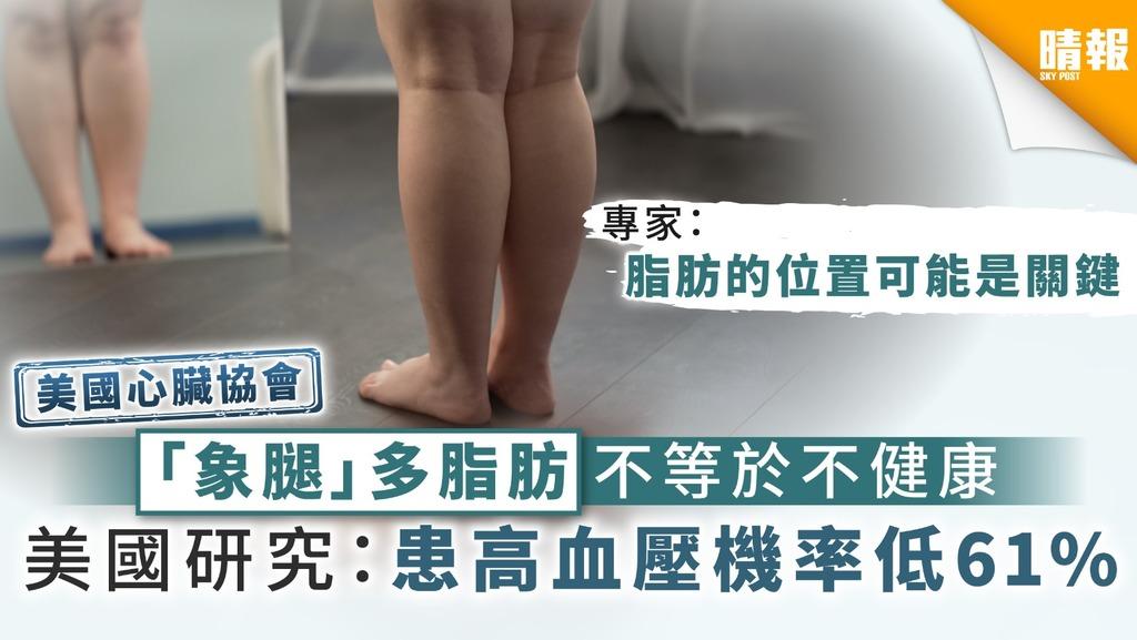 【美國心臟協會】 「象腿」多脂肪不等於不健康 美國研究:患高血壓機率較低61%