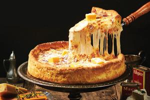 【芝士pizza】人氣韓式烤雞店Goobne Chicken推出新品 五重熔岩芝士芝加哥薄餅