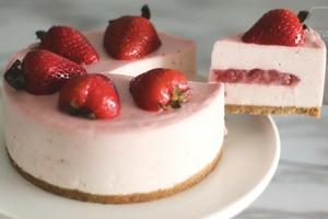 【免焗蛋糕】6步整出少女打卡免焗甜品  士多啤梨乳酪慕絲蛋糕食譜