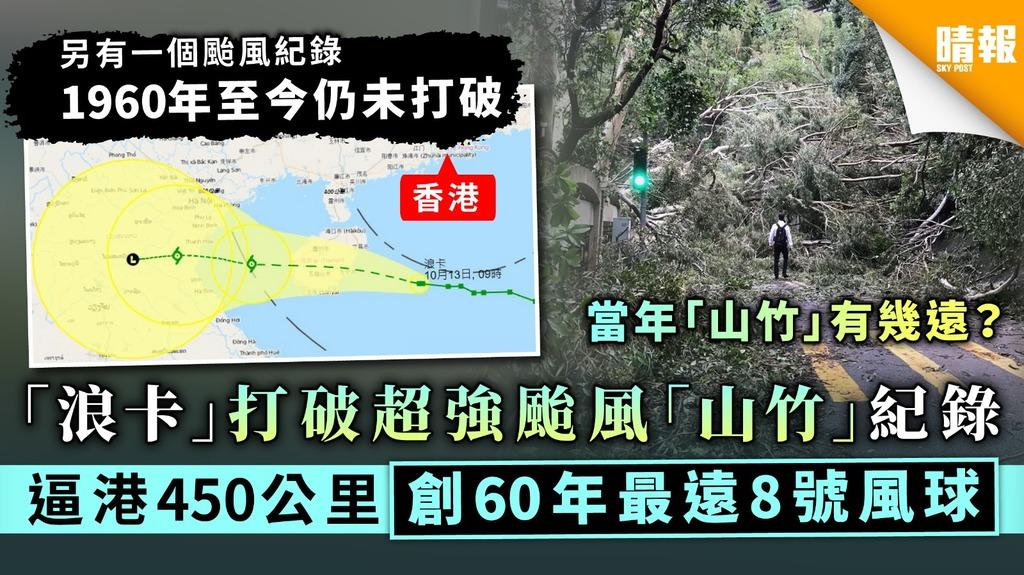【颱風浪卡】「浪卡」打破超強颱風「山竹」紀錄 逼港450公里創60年來最遠8號風球