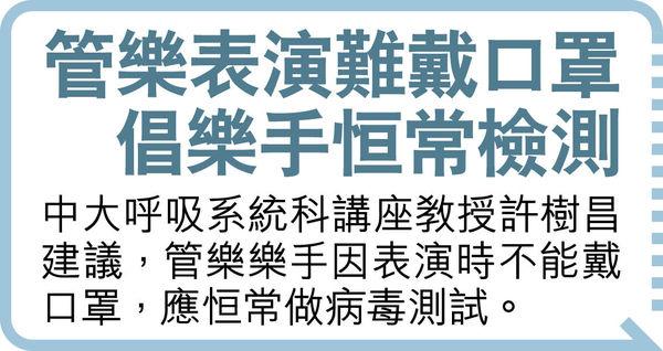 港樂樂手染疫 當局籲觀眾檢測 特首辦:林鄭測試結果陰性