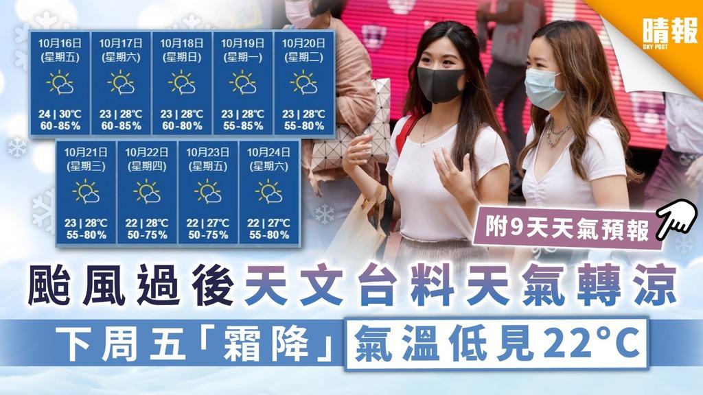 【天文台】颱風過後天文台料天氣轉涼 下周5「霜降」氣溫低見22度