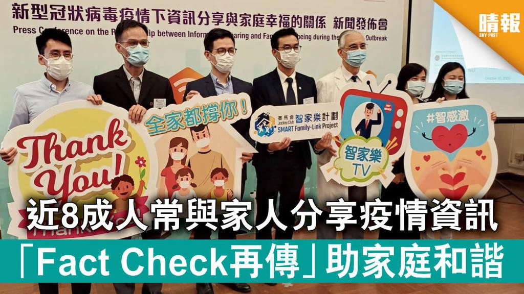 【新冠肺炎】近8成人常與家人分享疫情資訊 「Fact Check再傳」助家庭和諧