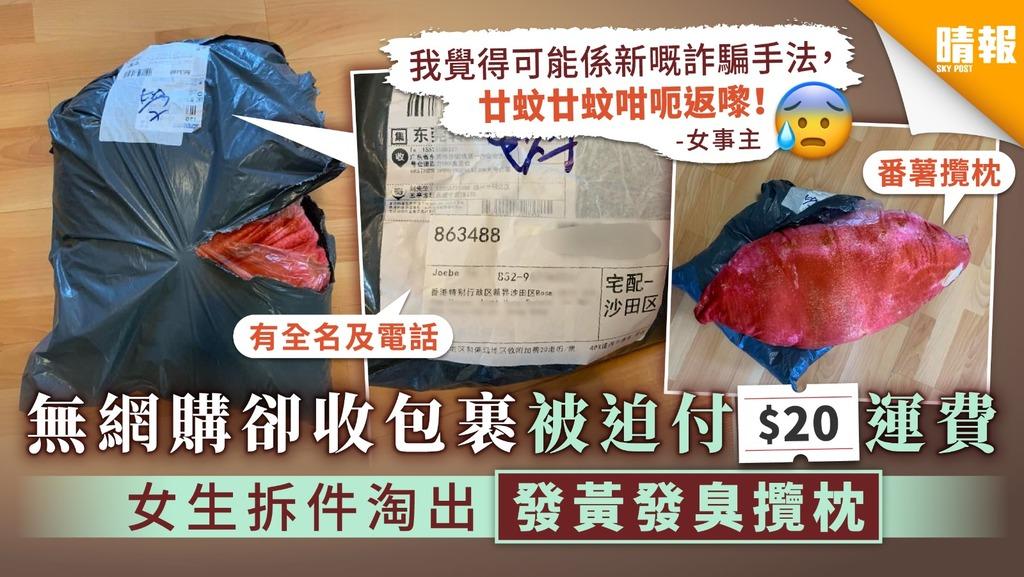 【騙財新招?】無網購卻收包裹被迫付$20運費 女生拆件淘出發黃發臭攬枕
