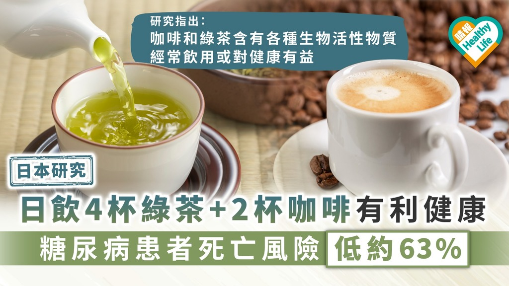 【日本研究】日飲4杯綠茶+ 2杯咖啡有利健康 糖尿病患者死亡風險低約63%