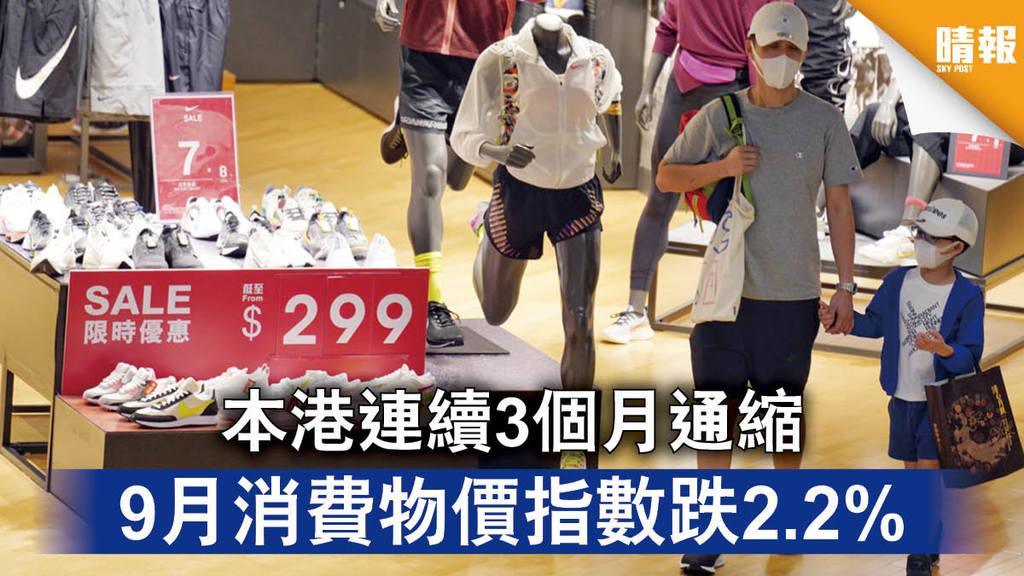 【新冠肺炎】本港連續3個月通縮 9月消費物價指數跌2.2%