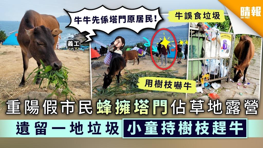 【密過劏房】重陽假市民蜂擁塔門佔草地露營 遺留一地垃圾小童持樹枝趕牛