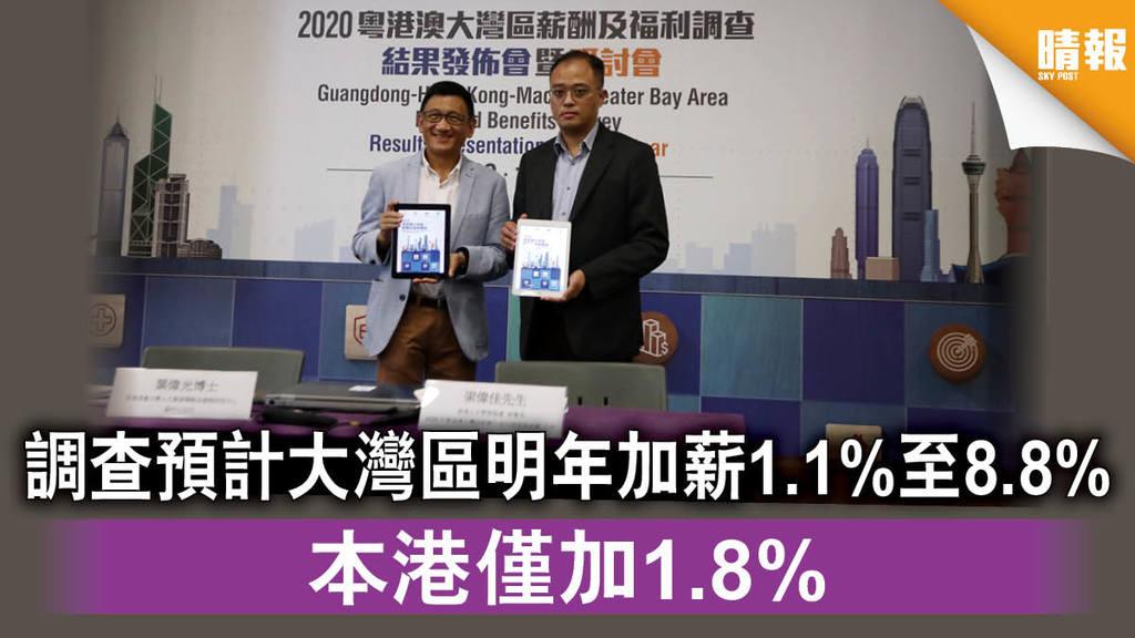 【大灣區薪酬】調查預計大灣區明年加薪1.1%至8.8% 本港僅加1.8%