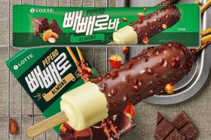 【韓國便利店 2020】韓國樂天Pepero百力滋朱古力雪條 杏仁朱古力脆皮+雲呢拿雪糕!