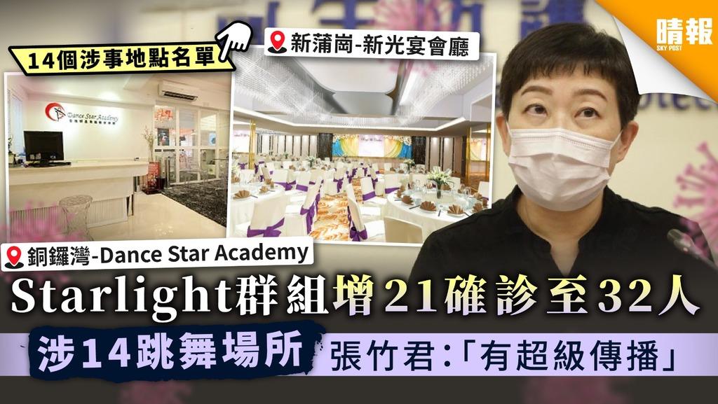 【超級傳播】Starlight群組增21確診至32人 涉14跳舞室 張竹君:「有超級傳播」