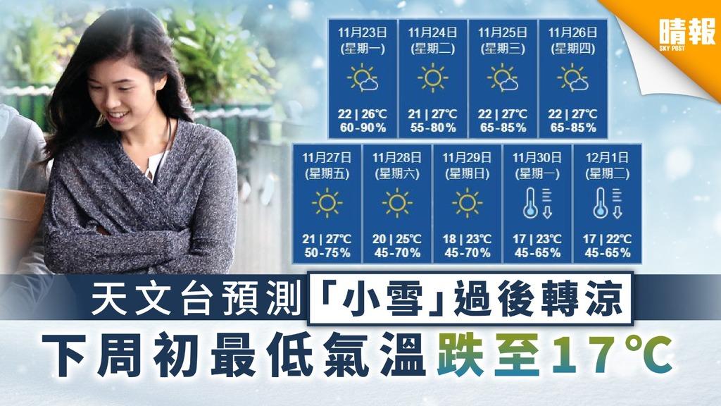 【天氣轉涼】天文台預測「小雪」過後轉涼 下周初最低氣溫跌至17℃
