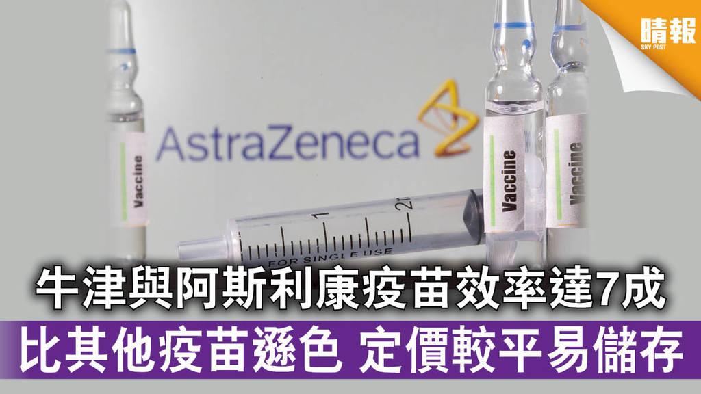 【新冠肺炎】牛津與阿斯利康疫苗效率達7成 比其他疫苗遜色 定價較平易儲存