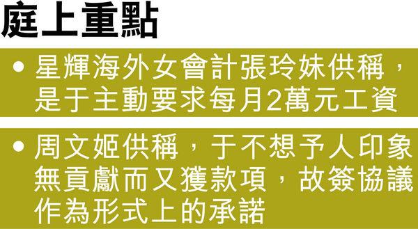 周星馳公司會計作供 稱于文鳳主動要求月收$2萬