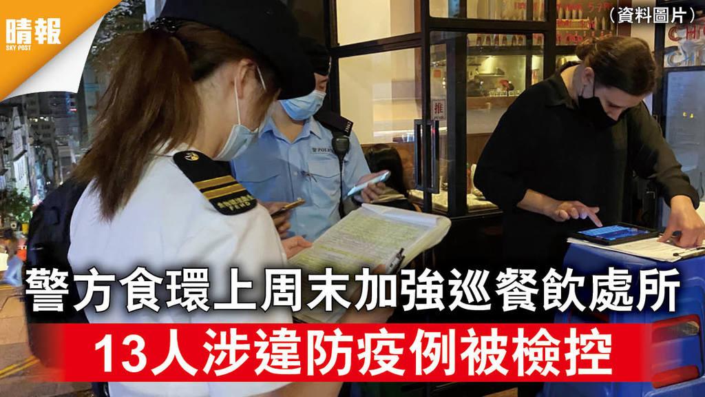新冠肺炎|警方食環上周末加強巡餐飲處所 13人涉違防疫例被檢控