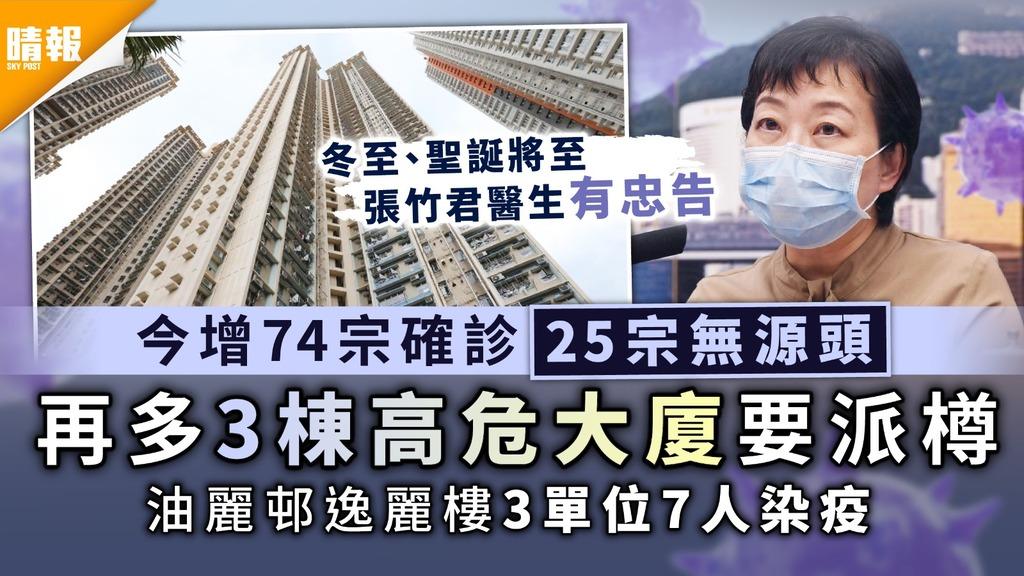 新冠肺炎 今增74宗確診25宗無源頭 再多3棟高危大廈要派樽 油麗邨逸麗樓3單位7人染疫