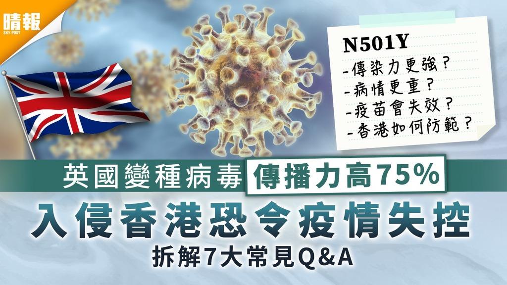 新冠肺炎|英國變種病毒N501Y傳播力高75% 入侵香港恐令疫情失控【拆解7大常見Q&A】