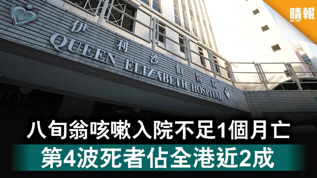 新冠肺炎 八旬翁咳嗽入院不足1個月亡 第4波死者佔全港近2成