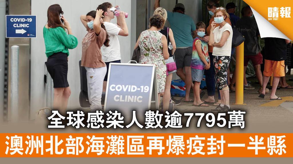 新冠肺炎|全球感染人數逾7795萬 澳洲北部海灘區再爆疫封一半縣