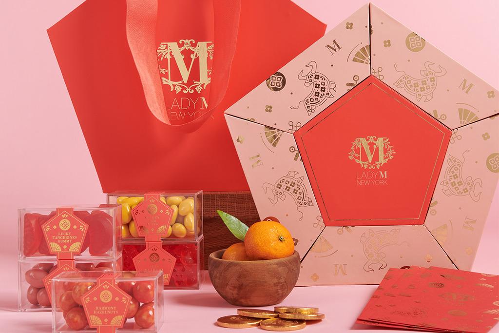 【新年禮盒2021】Lady M新春糖果禮盒 6款賀年糖果朱古力+燙金牛年圖案珊瑚粉紅禮盒