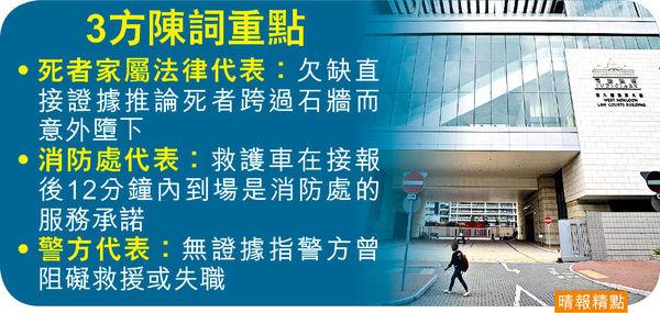 警陳詞強調無失職阻救援 家屬代表:跨過石牆意外墮下欠證據