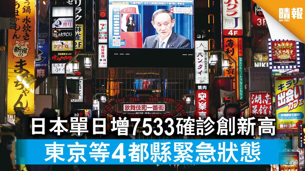 新冠肺炎 日本單日增7533確診創新高 東京等4都縣緊急狀態