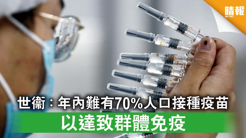 新冠疫苗|世衞:年內難有70%人口接種疫苗 以達致群體免疫