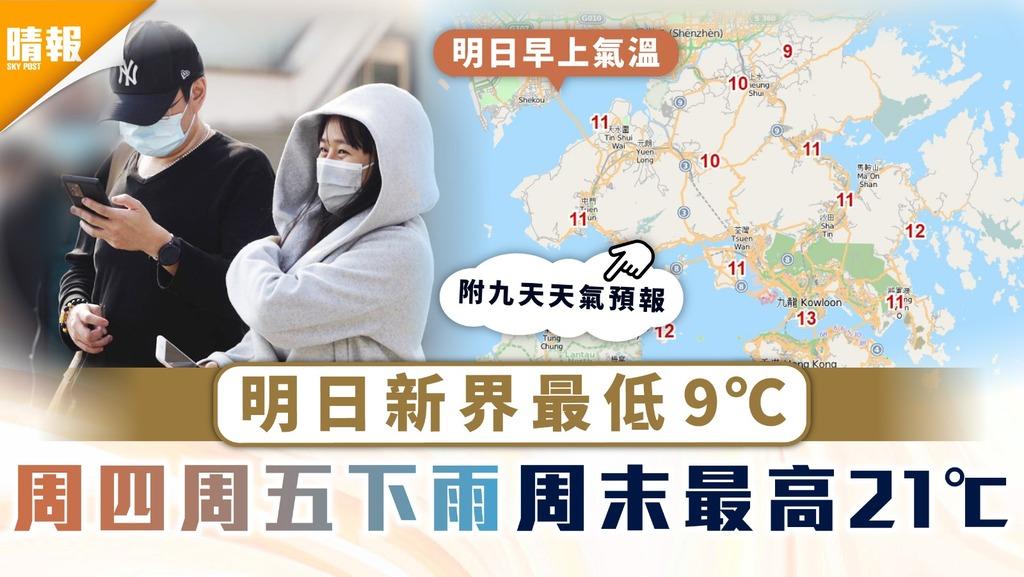 天文台|明日新界最低9℃ 周四周五下雨周末最高21℃