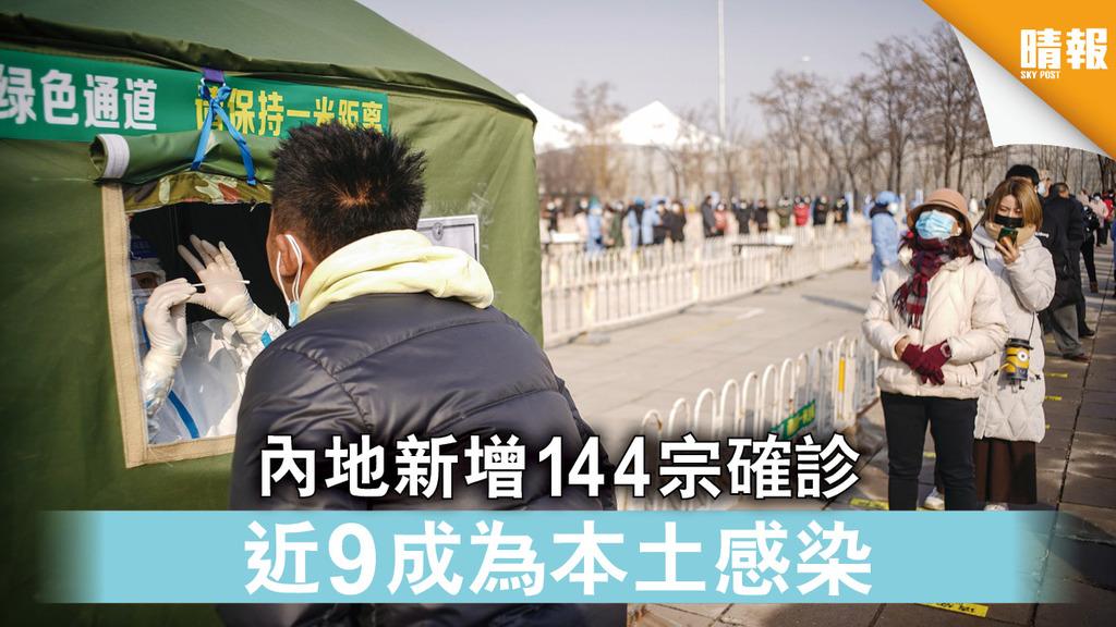 新冠肺炎|內地新增144宗確診 近9成為本土感染