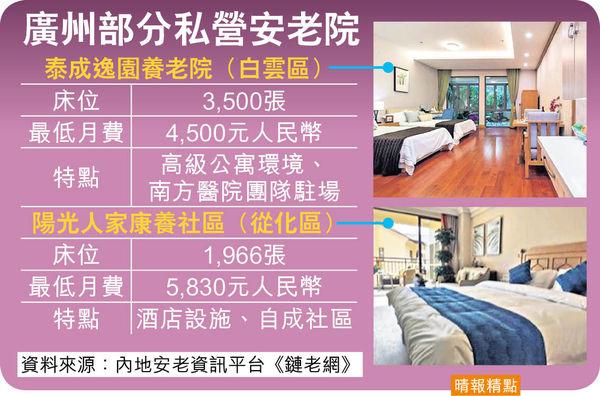 廣州7萬床位 配套領先9市 港人灣區安老漸成趨勢