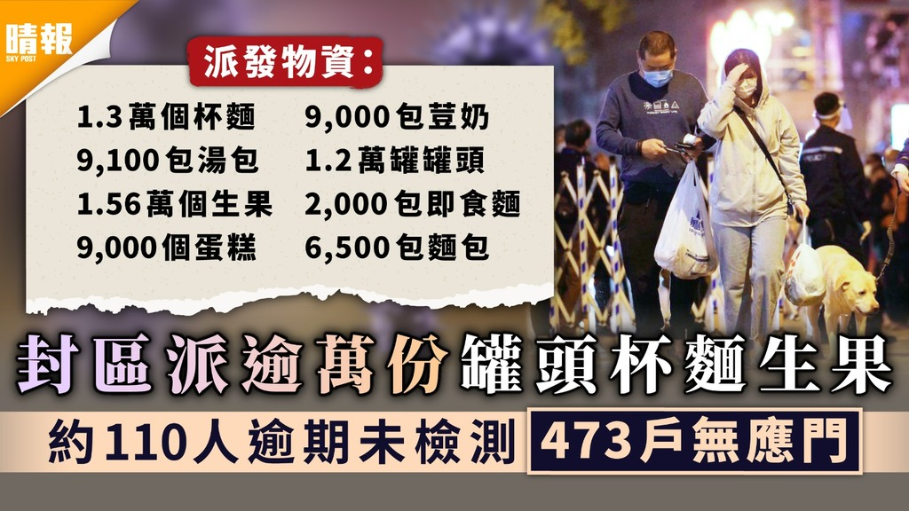 佐敦封區︳封區派逾萬份罐頭杯麵生果 約110人逾期未檢測473戶無應門