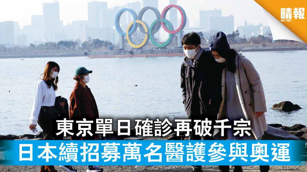 新冠肺炎|東京單日確診再破千宗 日本續招募萬名醫護參與奧運