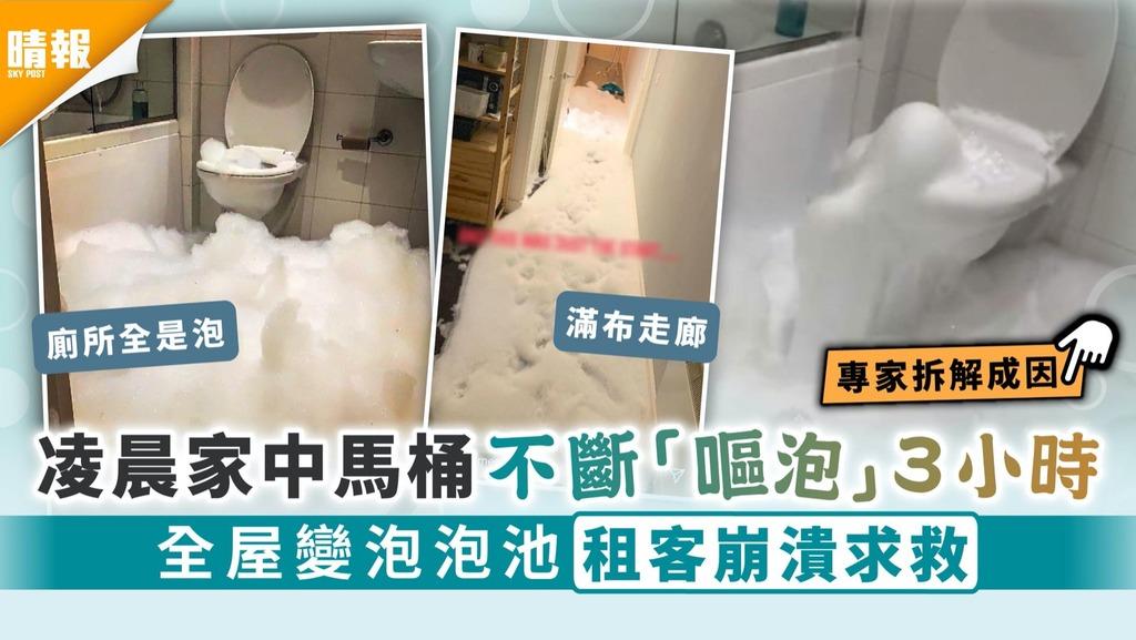 廁所嘔泡|凌晨家中馬桶不斷「嘔泡」3小時 全屋變泡泡池租客崩潰求救
