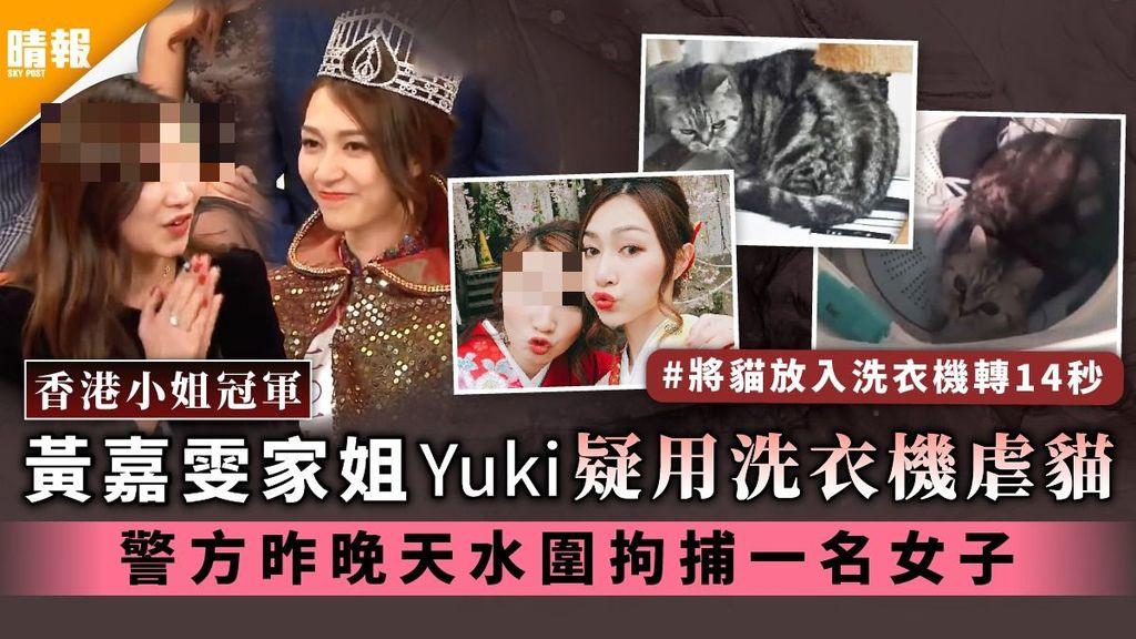 香港小姐冠軍│黃嘉雯家姐Yuki疑用洗衣機虐貓 警方昨晚天水圍拘捕一名女子