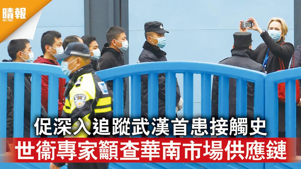 新冠肺炎|促深入追蹤武漢首患接觸史 世衞專家籲查華南市場供應鏈