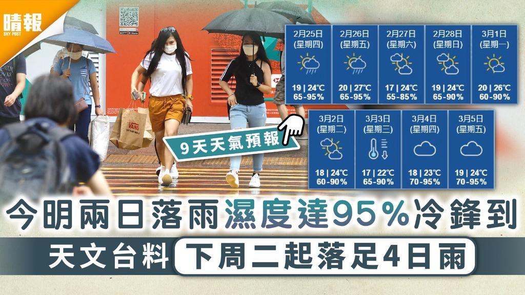 潮濕天氣 今明兩日落雨濕度達95%冷鋒到 天文台料下周二起落足4日雨