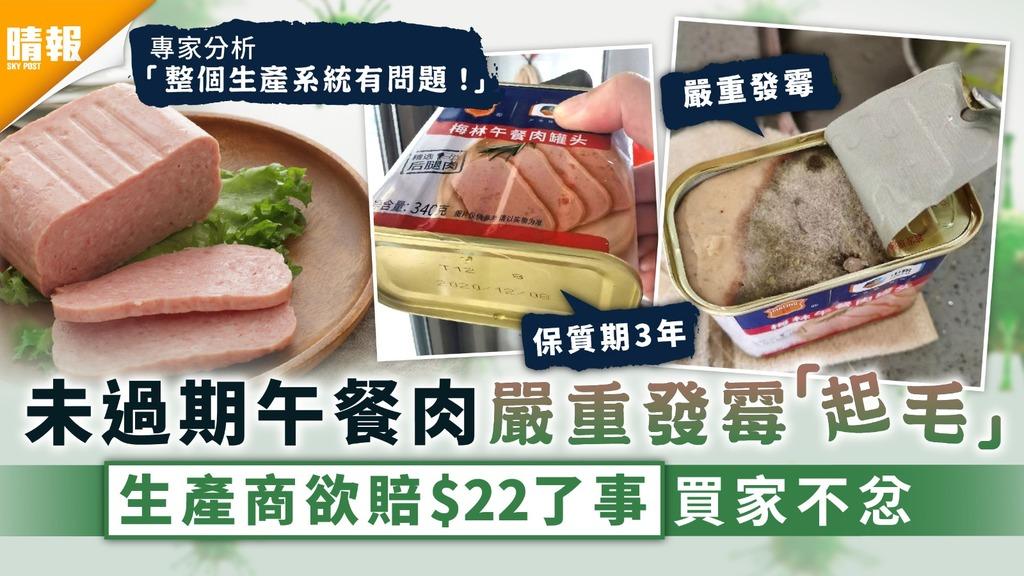 食用安全|未過期午餐肉嚴重發霉「起毛」 生產商欲賠$22了事買家不忿