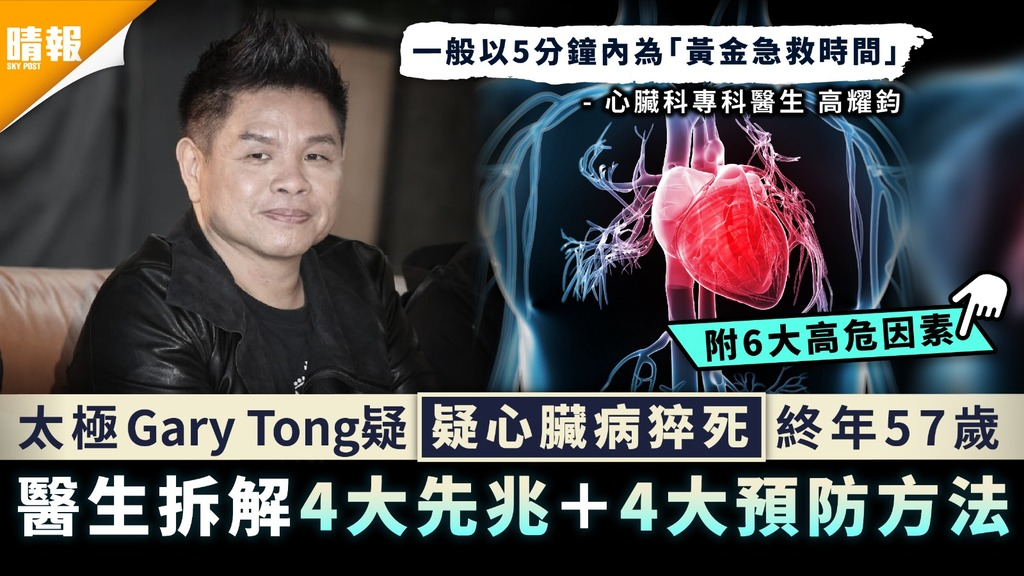 心血管疾病 |太極Gary Tong疑心臟病猝死享年57歲 醫生拆解4大先兆+4大預防方法