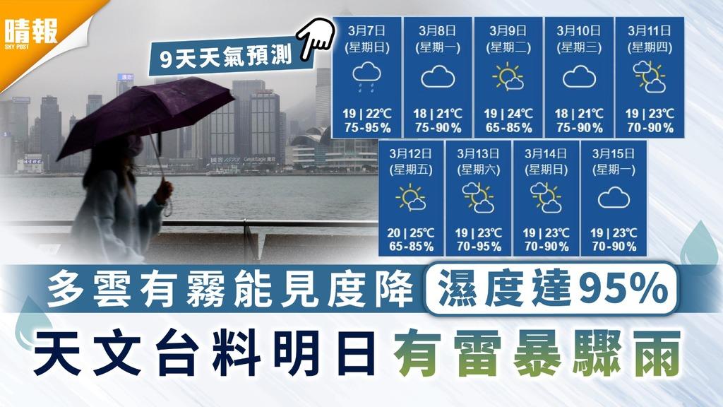 潮濕天氣|多雲有霧能見度降濕度達95% 天文台料明日有雷暴驟雨