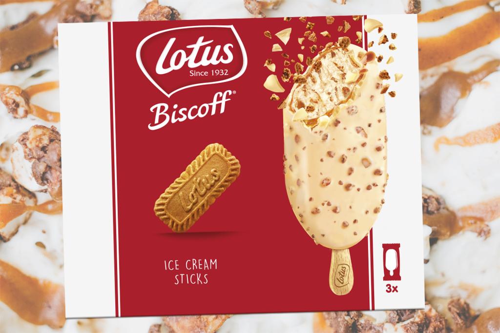 【英國超市必買2021】Lotus Biscoff 餅新出焦糖醬脆皮雪條 英國限定! 白朱古力脆皮+流心焦糖醬+雲呢拿雪糕