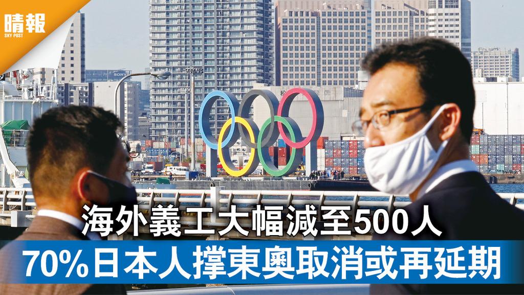 東京奧運|海外義工大幅減至500人 70%日本人撑東奧取消或再延期