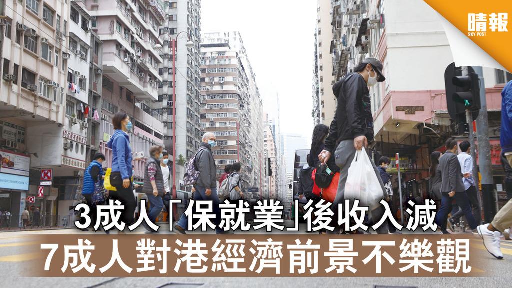 新冠肺炎|3成人「保就業」後收入減 7成人對港經濟前景不樂觀