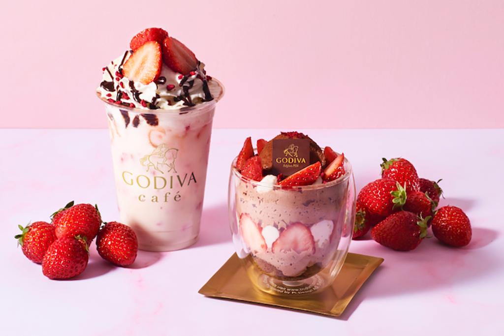 【日本美食2021】GODIVA Cafe東京春日限定士多啤梨甜品 草莓雪糕芭菲/特濃草莓白朱古力特飲