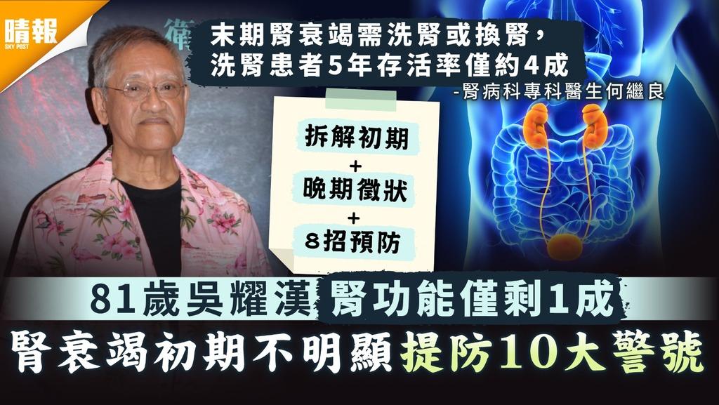 腎衰竭 81歲吳耀漢腎功能僅剩1成 腎衰竭初期不明顯提防10大警號 附8招預防