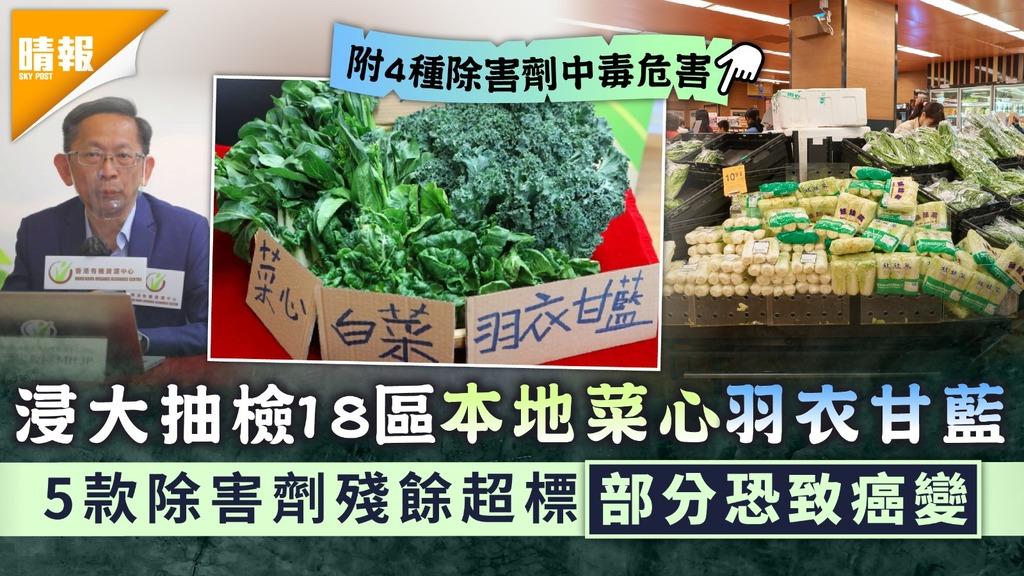 食用安全 浸大驗出本地菜心及羽衣甘藍 除害劑殘餘超標6.7及6.6倍