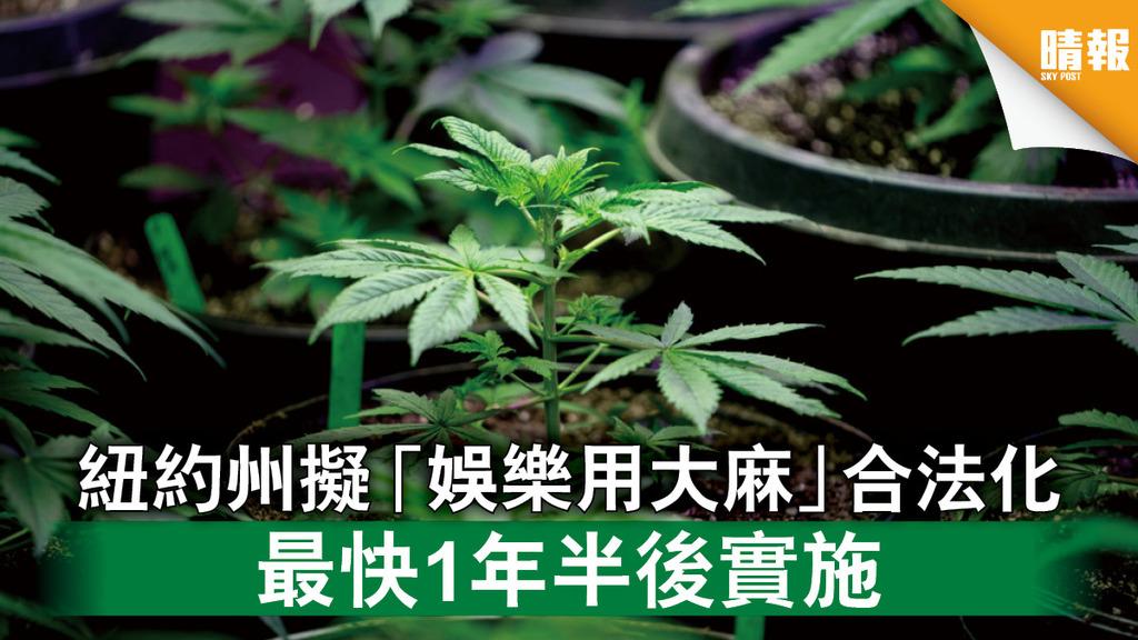 大麻合法化|紐約州擬「娛樂用大麻」合法化 最快1年半後實施