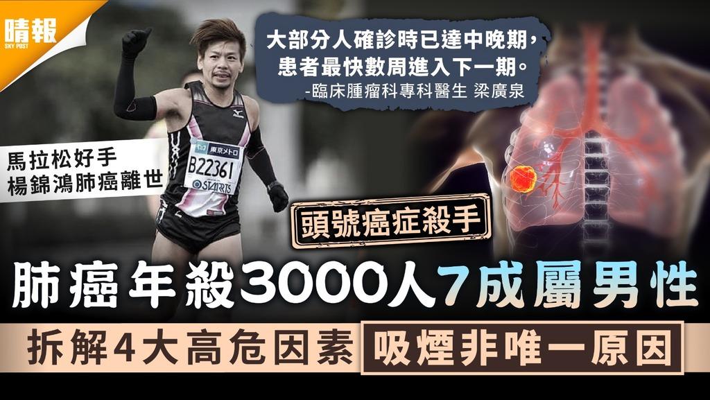 楊錦鴻病逝 肺癌年殺3千人7成屬男性 拆解4大高危因素吸煙非唯一原因